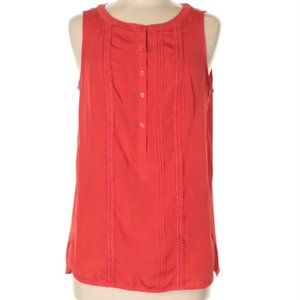 Ann Taylor Factory Red Sleeveless Blouse M Pintuck